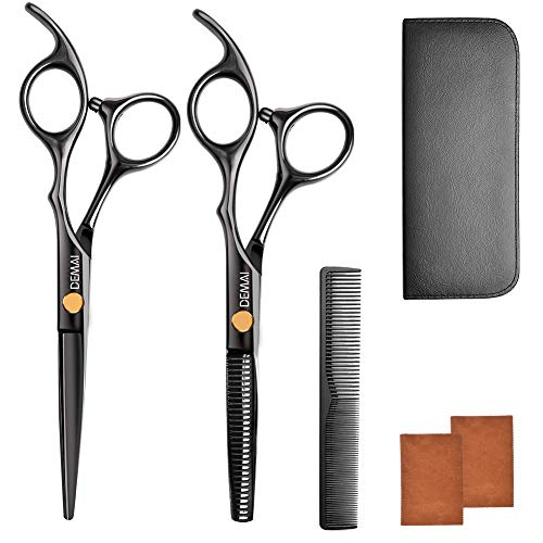 Hairdressing Scissors Set Hairdressing Styling Tools Stainless Steel Salon Cutting Thin and Sharp 7inch Hairdressing Scissors Set incl. Hairdressing scissors, thinning scissors, comb for ladies, gents
