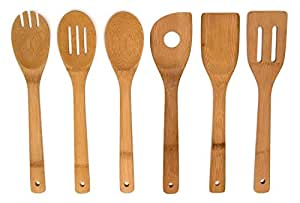 "6 Piece Set Bamboo 12"" Utensil Kitchen Wooden Cooking Tools Spoon Spatula Mixing"
