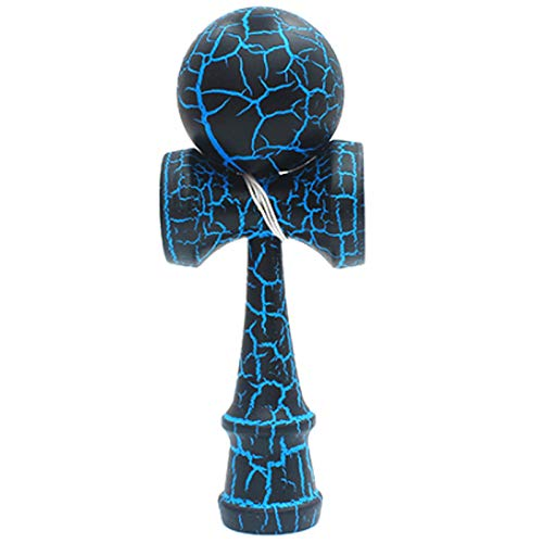 TOOGOO Holz Spielzeug Aussen Sports Kendama Spielzeug Ball Kinder und Erwachsene Aussen Ball Sportarten Riss Buchen Holz Buntes Design Schwarz und Blau