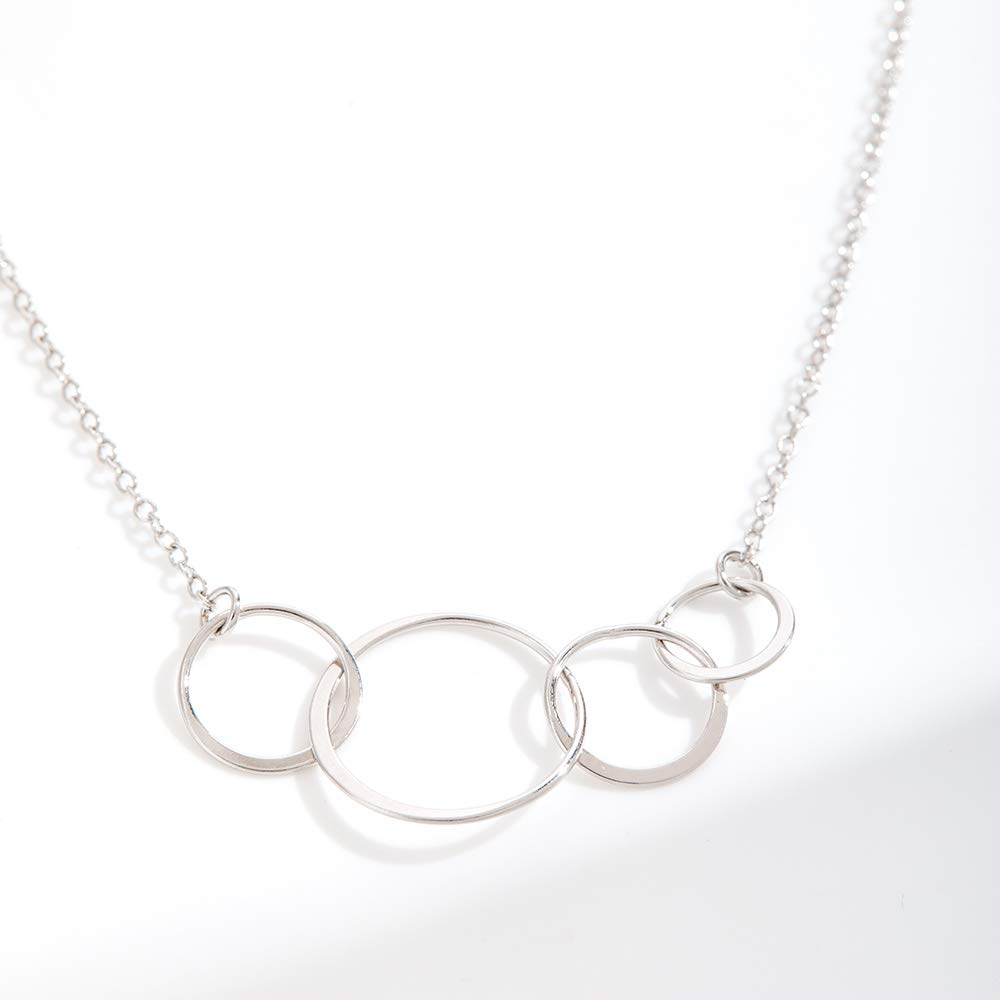 Dear Ava Tribe Gift Necklace: Best Friends Long Distance Friends Forever 4 Asymmetrical Circles BFF Silver-Plated-Brass, NA