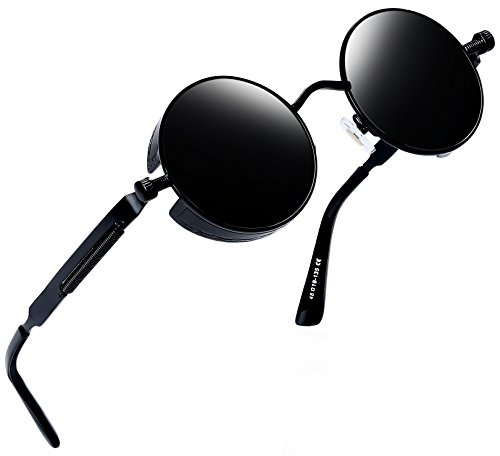 Joopin-Round Retro Polaroid Sunglasses Driving Polarized Glasses Men Steampunk (Black Retro) ()