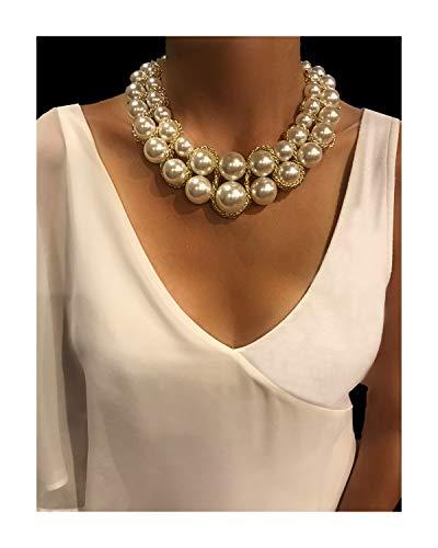 Pearl Choker Statement Necklaces (Cross Bead Chunky bib Collar Choker)]()