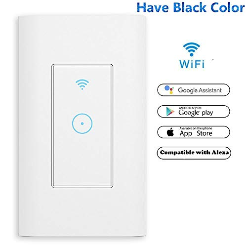 Wifi Switch 1800W Smart Switch Wi-Fi Wall Light Switch 1 Gang Control Light from Anywhere,Amazon Alexa and Google Assistant Supported,Timing Function,Fit US/CA Wall Switches,No Hub Needed White 1 Pack