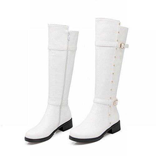 Carolbar Mujeres Zip Multi Hebilla Retro Rivet Mediados De Talón Riding Altas Botas Blancas