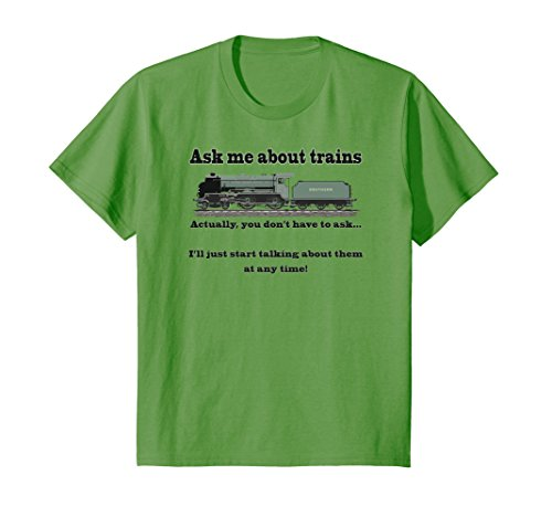 """Price comparison product image Kids Trains & model trains funny tee """"Ask me about trains"""" 10 Grass"""