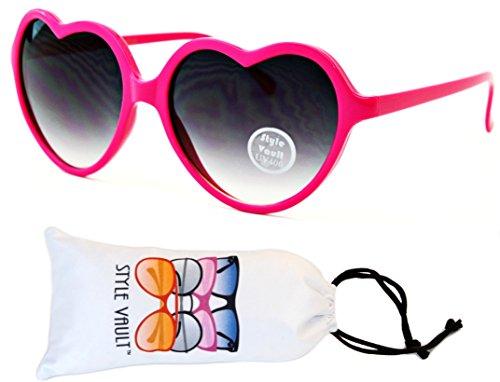 Wm507-vp Style Vault Heart Love Plastic Sunglasses (S3303V Pink-Smoked, uv400) (Cupid Men Costume)