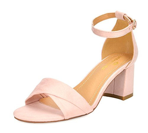 DREAM PAIRS Women's Duchess_03 Pink Fashion Block Ankle Strap Heeled Sandals Size 10 B(M) US