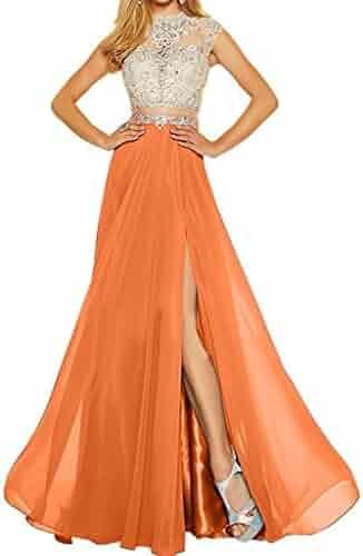 101f44b7dc MariRobe Women s Beading Evening Dress Split Illusion Prom Gown Sleveless  Backless Dance Dress for Girls