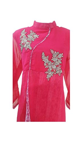 Adhrit Creations Women's Stylish Casual Raw Silk Kurti Party Wear Kurta X-Large Pink