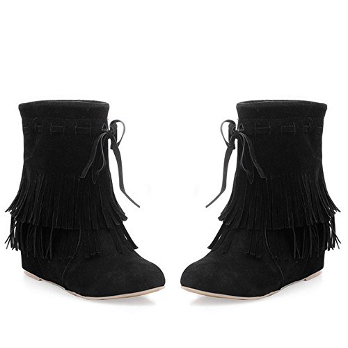 Coolcept Ladies Classical Hidden High Heel Fringe Boots Wedges Heel Black jUrKf9S