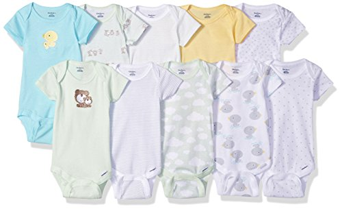 Gerber Baby 10 Pack Onesies Bundle, Duck/Teddy, 0-3 Months