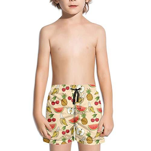 DSDRFE2DEW Swimming Trunks Banana Apple Pineapple Cherry Watermelon Adjustable Shorts for Childrenwith Drawstring