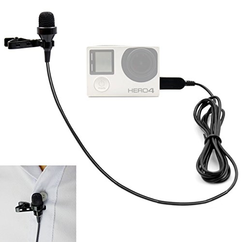 PANNOVO Microphone, Clip-on Omnidirectional Condenser Mic Adapter Microphone accessories for Gopro 3/3+/4