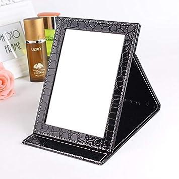 XINGPENGME Maquillaje Espejo 2 PCS Plaza del Cuero del Soporte del patrón Maquillaje Espejo cocodrilo portátil del Espejo cosmético, Color: Negro, tamaño: S 12x17.5x1.6CM