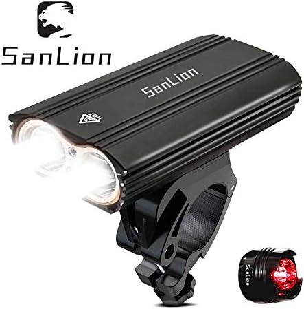 SanLion Faro Delantero para Bicicleta, 2 * LED CREE XM USB ...