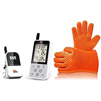 Maverick ET-733 Long Range Wireless Dual Probe BBQ Smoker Meat Digital Thermometer Set with Silicone Heat Resistant Grilling BBQ Gloves for Cooking, Baking, Smoking