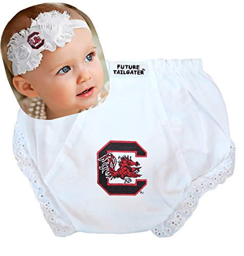 - Future Tailgater South Carolina Gamecocks Baby Eyelet Diaper Cover and Shabby Flower Headband (6-12 Months/ 15