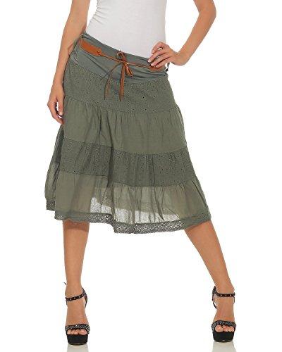 Italy coton coton jean A d't longueur ceinture en jupe genou Moda Mesdames jupe Armee midi volants line jupe avec OxawqndYZ