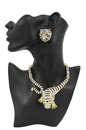 Miley Cyrus Costume Online (TFJ Women Dressy Fashion Gold Metal Necklace Fancy Jewelry Tiger Leopard Rhinestones + Earrings)