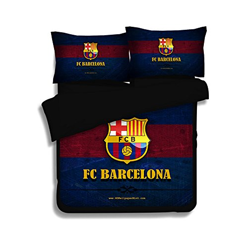 Jameswish Gorgeous Barca Football Duvet Cover Set Heavy-Duty Comfortable Bed Cover For Boy Perfect Fabric 3-Piece 1Duvet Cover Matching 2Pillowshams King Queen Full Twin Size (Football Barcelona Club)