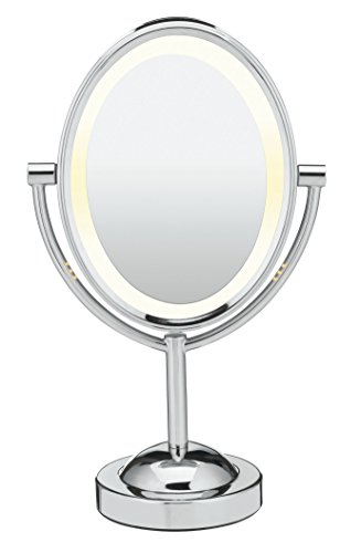Conair Oval Shaped Double-Sided Lighted Makeup Mirror; 1x/7x Magnification, Polished Chrome