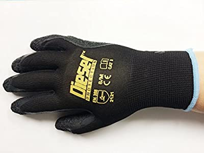 Medium/ 6 Pair Diesel Black Safety Gloves Latex Coated Grip Cut Resistant