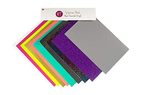 (Expressions Vinyl - Heat Transfer Vinyl Starter Pack - Siser EasyWeed, Glitter HTV, Siser StripFlock, Stretch, and Holographic (10 Piece Set))