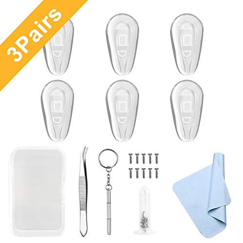 Updated 3 Pairs Anti-Slip Silicone Eyeglass Nose Pads 14mm x 8mm Eyeglasses Repair Kit Tiny Screws Screwdriver Tweezer Cleaning Cloth Easy Installation ()