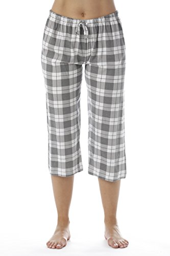 (Just Love Womens Pajama Plaid Capri Pants Sleepwear 6331-10018-GRY-XL)