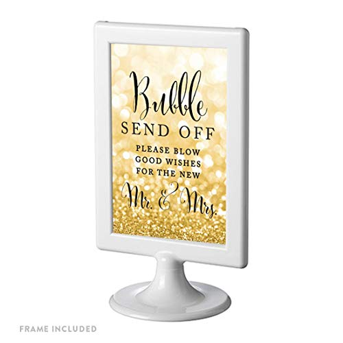 Andaz Press Framed Wedding Party Signs, Glitzy Gold Glitter, 4×6-inch, Bubble Send Off Please Blow Good Wishes for The New Mr. & Mrs. Sign, 1-Pack