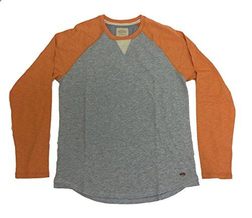 True Grit Mens Vintage Raglan Long Sleeve Tee-Papaya/Heather - Papaya Clothing
