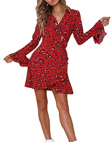 2 AU Leopard Sodossny Autumn Print Party Neck V Dress Slim Womens Short BxaawHqPF