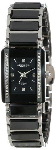 Akribos XXIV Women's Quartz Ceramic Dress Watch, Color:Black (Model: AK522BK)