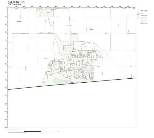 ZIP Code Wall Map of Calexico, CA ZIP Code Map - Ca Map Calexico