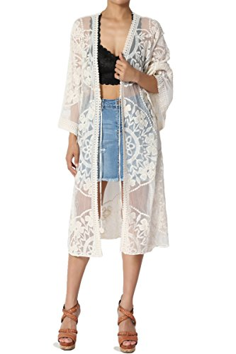 TheMogan Women's Embroidered Sheer Mesh Lace Cover Up Cardigan Beige ONE Size