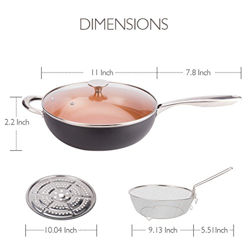 MICHELANGELO Ultra Nonstick 5 Quart Copper Saute Pan with Lid 11 Inch Induction Skillets Copper Frying Pan Deep Saute Pan Nonstick