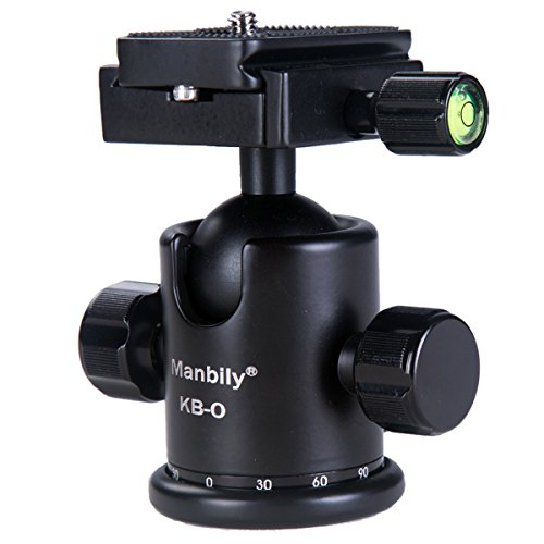 Damping Ball Head, Manbily Professional Photography Camera Tripod Mount Ballhead, 360 Degree Rotatable [Panoramic Head], 3D Head with [1/4 Quick Release Plate] [Dual Bubble Level] for DSLR & Camcorder
