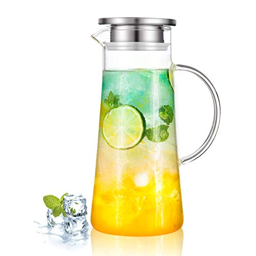 SUSTEAS 1.5 Liter 51 Ounces Glass pitcher with lid covered gallon iced tea pitcher lidded water jug hot cold water ice tea wine coffee milk and juice beverage carafe
