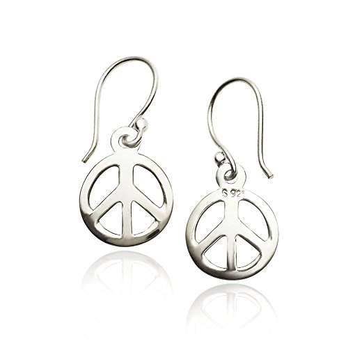 (River Island Jewelry - 925 Sterling Silver Peace Sign Dangle Earrings French Hook)