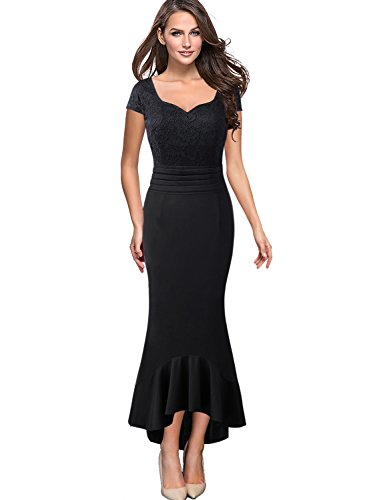 - VfEmage Womens Elegant Vintage Wedding Party Maxi Mermaid High Low Dress 9300 BLK 16