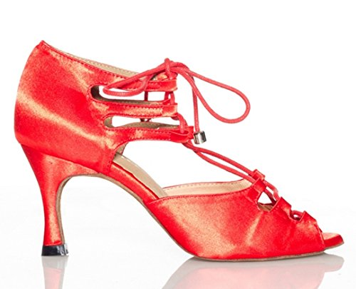 TDA Womens Sexy Lace-up Peep Toe Satin Salsa Tango Ballroom Latin Dance Shoes Red OT4ec7