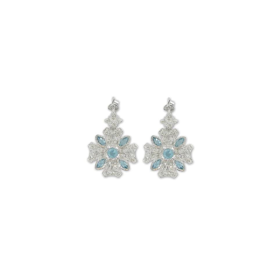 3/4 Sterling Silver Iron Cross Earrings w/ Crystal CZ Stones & Aqua Accents