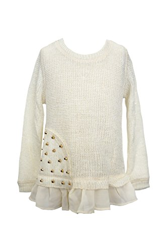 Studded Ruffle (Little Girls Studded Ruffle Sweater Top, Ivory, 2T-4T)
