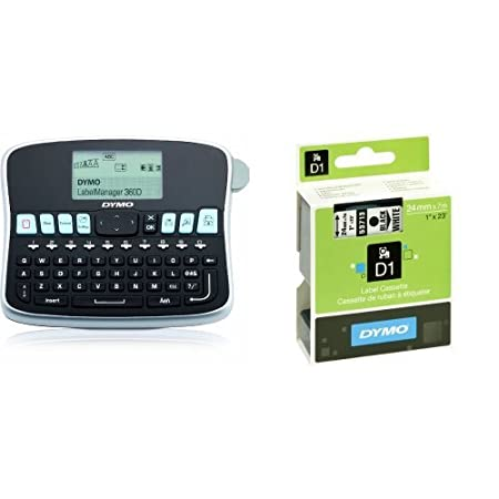 Dymo LabelManager 360D Handheld Label Maker QWERTY Keyboard and D1 Standard Labelling Tape of 24 mm x 7 m - Black on White