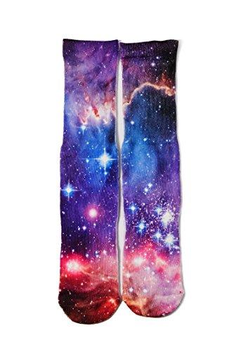 RAISEVERN Crazy Funny Novelty Milking Way Galaxy Nebula Pattern 3d Print Footwear Casual Athletic Sports Crew Tube Socks Crew Print Crew Socks
