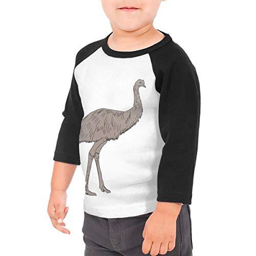 Unisex Baby Flightless Birds Emu Toddler's O Neck Raglan 3/4 Sleeve Baseball T Shirt for 2-6 Boys Girls Black -