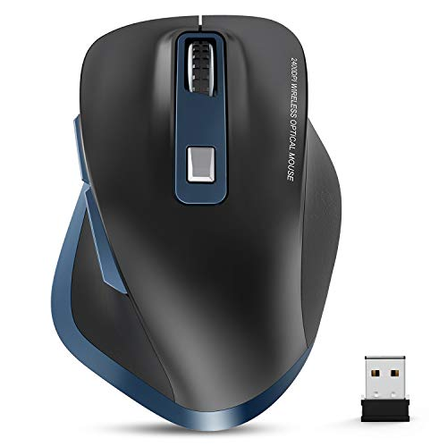 Ergonomic Wireless Mouse, TedGem 2.4G Computer Mouse, Laptop Mouse Portable Energy Saving with USB Nano Receiver 6 Buttons 5 Adjustable DPI for PC Tablet Laptop Windows Mac Linux (Blue&Black)
