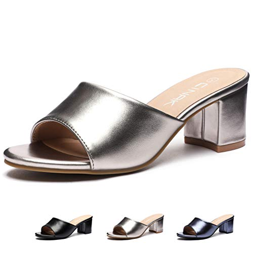 CINAK High Heeled Sandals Slippers Womens- Summer Slip-on Casual Slide Mules Comfort Shoes Silver