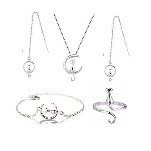 Spiritlele 4 PCS Silver Cat Jewelry Set Necklace Bracelet Ring Threader Earrings Pack For Women (silver cat)