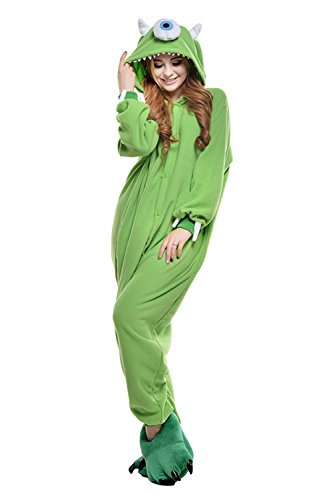 VU ROUL Halooween Costumes Animal Mike Onesie Adult Pajamas Large Green]()